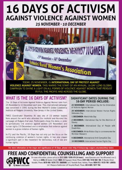 FWCC Marks 16 Days of Activism 2017