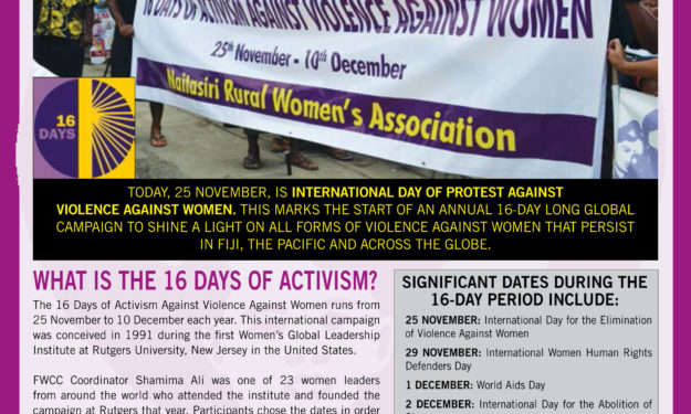 FWCC Marks 16 Days of Activism