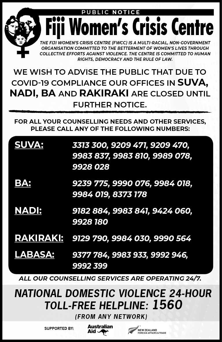 We wish to advise the public that due to COVID-19 compliance our offices in Suva, Nadi, Ba and Rakiraki are closed until further notice.
